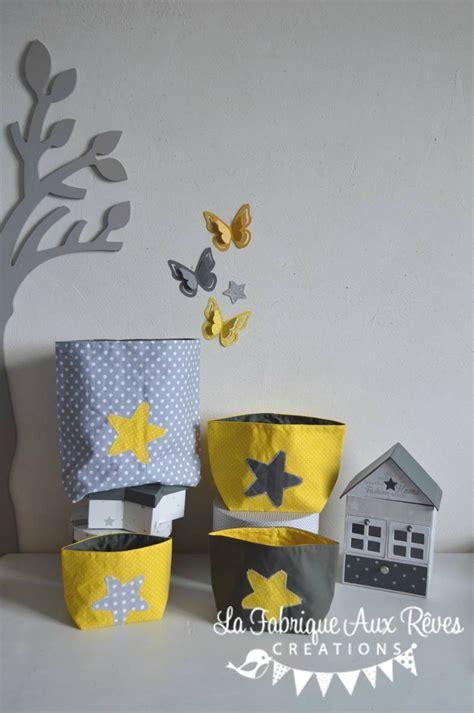 deco chambre gris et jaune lot 4 pochons rangement étoiles jaune gris blanc