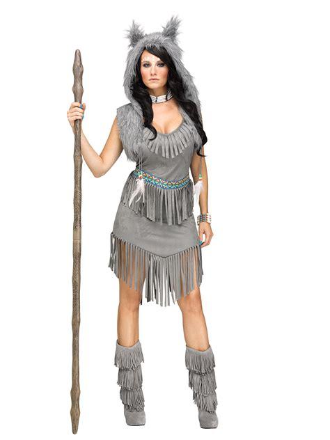 wolf jaegerin indianerin damenkostuem western grau