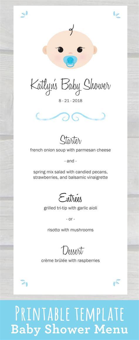 cute baby shower menu template   edit