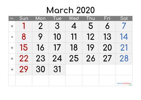 march  calendar  week numbers