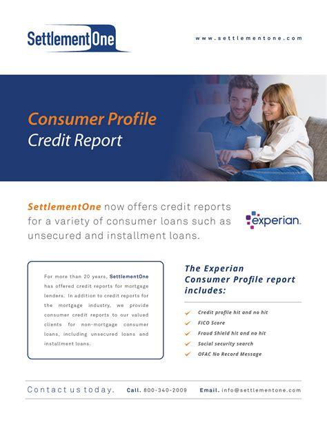 consumer profile credit report settlementone