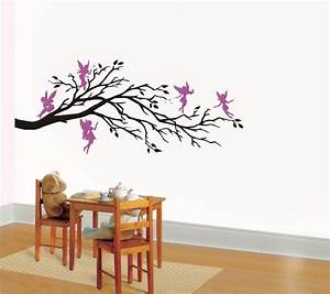 wall art vinyl decal fantasy five fairies and branch With fairy wall decals