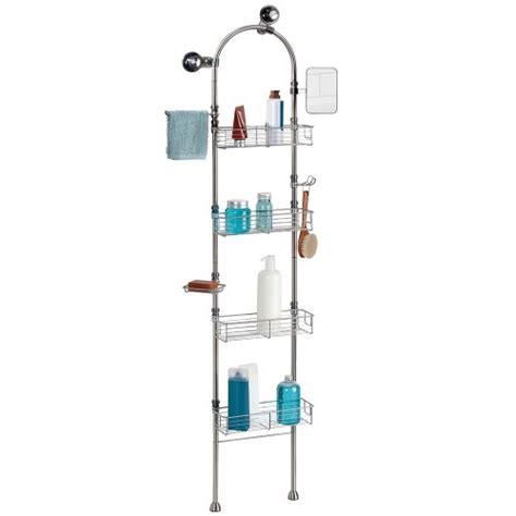 interdesign forma bathroom floor standing shower caddy station for shoo conditioner soap