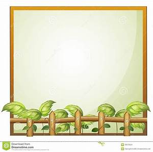 An Empty Frame With A Wooden Fence And Vine Plants Stock ...