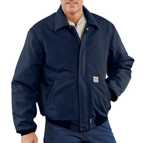 carhartt flame resistant heavyweight quilt lined duck bomber jacket  insulated jackets