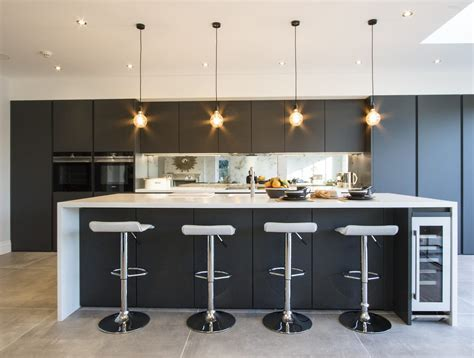 Modern Handleless Kitchen in Carbon Grey colour, from