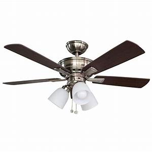 Hampton Bay Vaurgas Led Indoor Brushed Nickel Ceiling Fan