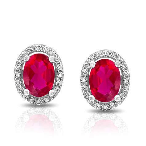 925 silver earrings oval pink ruby color cz stud earrings 925 sterling silver