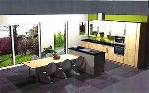 Ilot Cuisine Table : notre cuisine our green pea ~ Teatrodelosmanantiales.com Idées de Décoration