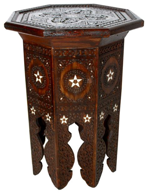 mother of pearl end table moroccan mother of pearl inlay side table mediterranean