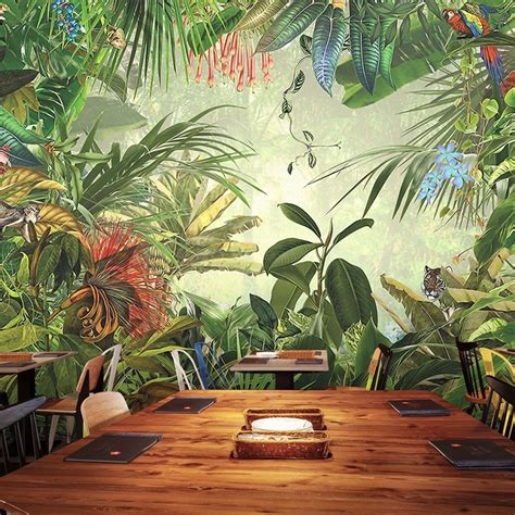 custom mural original forest animals tropical forest
