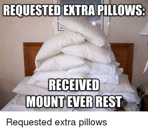 Pillow Meme - requested extra pillows received mount ever rest requested extra pillows punny meme on sizzle