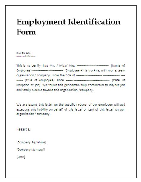 Employment Identification Form  Az Word Templates And Forms