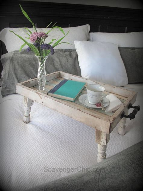 reclaimed wood bed tray diy scavenger chic cut spindle