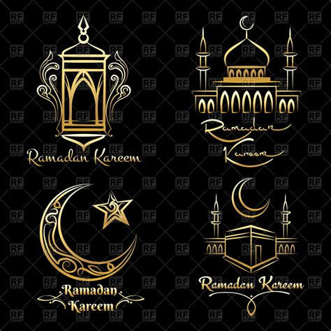 ramadan kareem icons set arabic emblems  black background vector image  icons  emblems