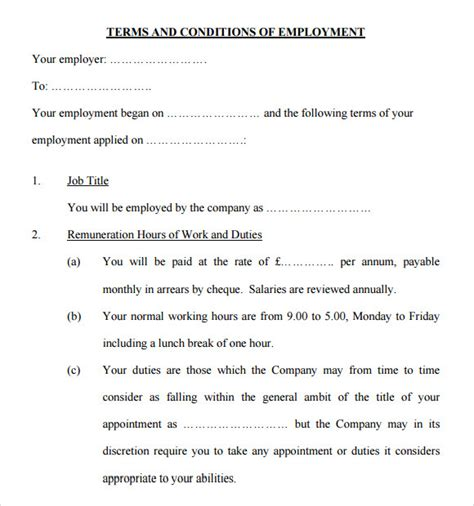 Terms And Conditions Template by Sle Terms And Conditions 9 Free Documents
