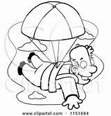 Coloring Skydiving Clipart Parachute Pages Parachuting Skydive Cartoon Happy Rf Royalty Illustrations Getcolorings Vector Printable sketch template