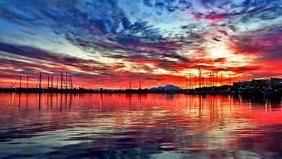 Sunset Ocean Scenes Colorful Night Peaceful Sea