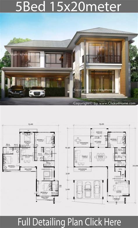 Home design plan 15x20m with 5 bedrooms Home Design with