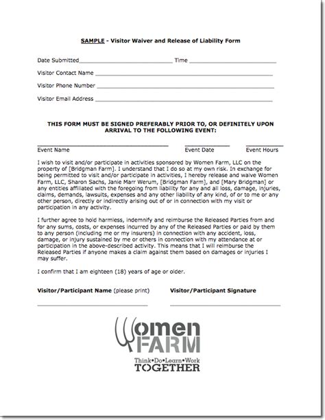 printable liability release form template form generic