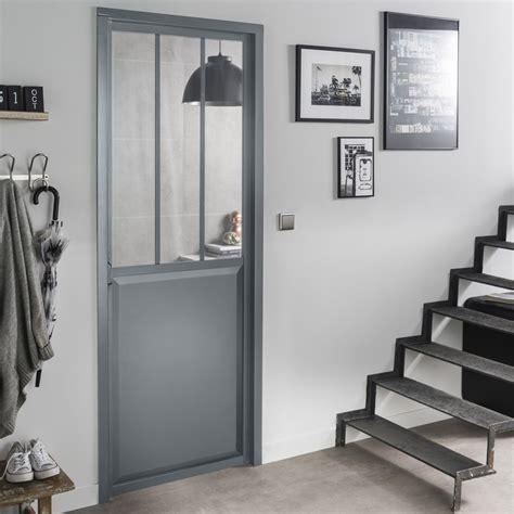 facade porte cuisine bloc porte gris atelier verre clair artens h 204 x l 73