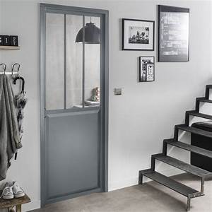 Porte Interieur Grise : bloc porte gris atelier verre clair artens x ~ Mglfilm.com Idées de Décoration