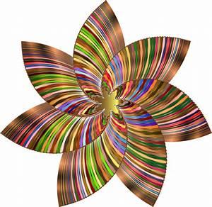 Clipart - Colorful Flower Line Art 4