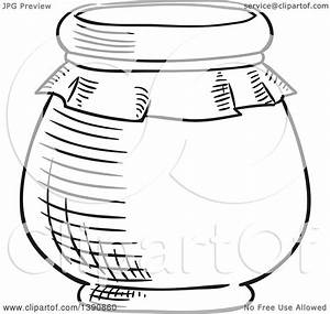 Clipart Of A Black And White Sketched Jar