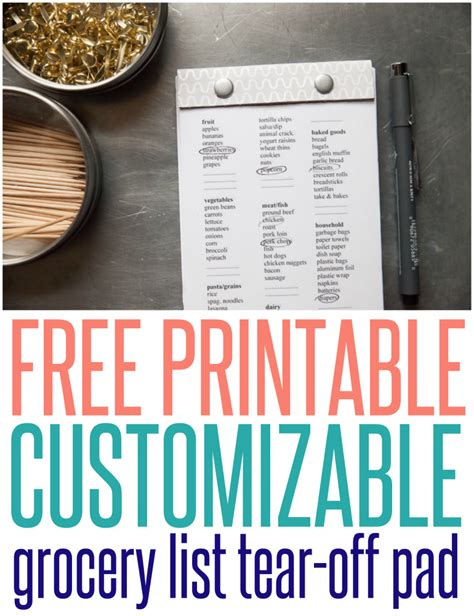 customizable grocery list template free printable grocery list tear pad infarrantly creative
