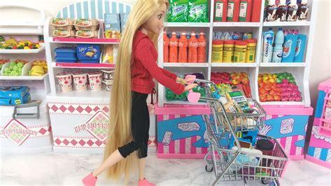 Rapunzel Grocery Store! Elsa Barbie Supermarket Barbie