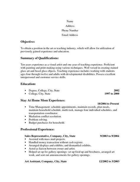 stay at home resume template resume exles 2017