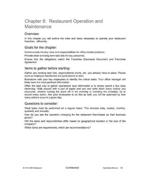 restaurant operational plan templates samples