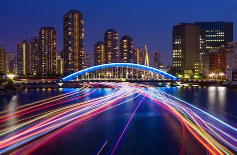 gorgeous long exposures  boats  tokyos river