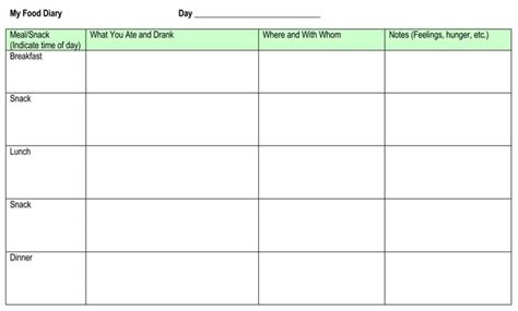 food log templates  record daily food intakes