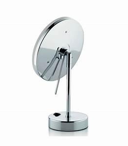 Miroir grossissant x 5 lumineux led rond sur pied for Miroir lumineux rond