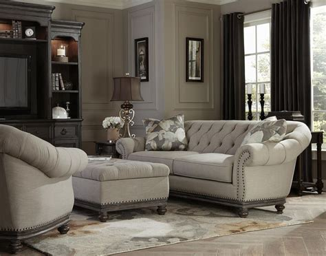 victoria traditional button tufted sofa  flared arms