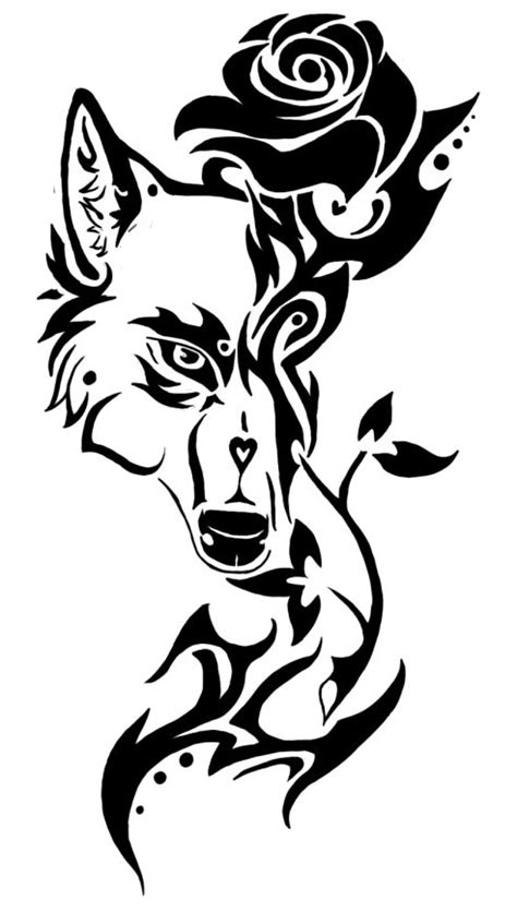 Romantic black-contour wolf and thorned rose tattoo design