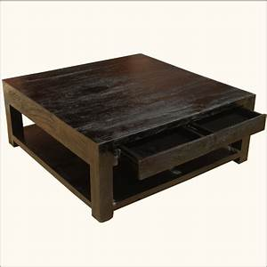 large rosewood classic square espresso coffee table With large square coffee table with drawers