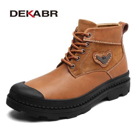 Dekabr Boots Brand Men Ankle Shoes Fashion Round Toe