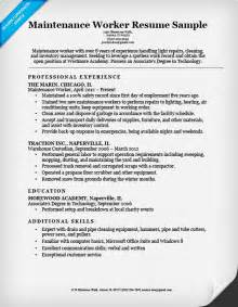 maintenance skills resume maintenance worker resume sle resume companion