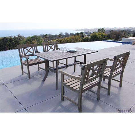 vifah renaissance acacia 5 patio dining set with 35
