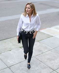 Belt jewels the classy cubicle blogger white shirt black jeans black flats clutch double ...