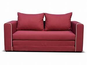 Canapé fixe convertible 2 places en tissu LAURA coloris rouge Vente de Canapé droit Conforama