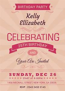 Ms Word Card Template Happy Retro Birthday Party Invitation Card Design Template
