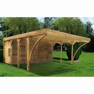 Carport Avec Abri : carport double 42 12m remise en bois autoclave aymar madeira ~ Melissatoandfro.com Idées de Décoration