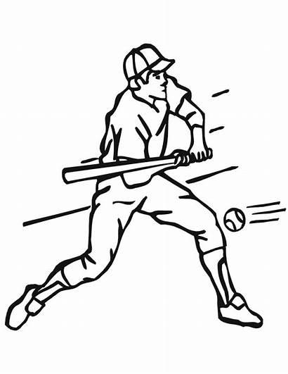 Baseball Coloring Pages Printable Batter Bat Dodgers