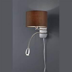 Lampenschirme Für Tischleuchten Vintage : wandlampe mit leselampe stoffschirm braun im hoteldesign ~ Bigdaddyawards.com Haus und Dekorationen