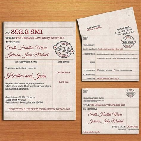 library card wedding invitation collection printable book
