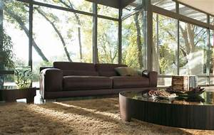 amenagement salon avec canape marron pour y inviter le With tapis exterieur avec salon canapé cuir marron