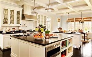 white kitchen island designs ideas with black countertop With kitchen design ideas with island